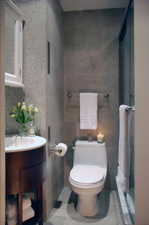 Contemporary 3/4 Bathroom with frameless showerdoor, Kohler Santa Rosa Comfort Height one-piece compact elongated toilet