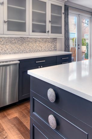 Contemporary Kitchen with Shaker style cabinets, Hardwood floors, Mosaic tile backsplash, Paint 1, Quartz counters