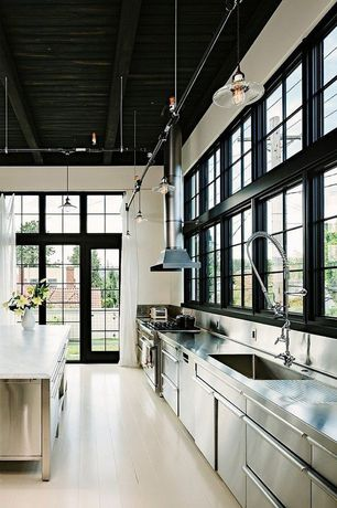 Contemporary Kitchen with Paint 2, Stainless Steel, picture window, partial backsplash, dishwasher, French doors, Paint 1