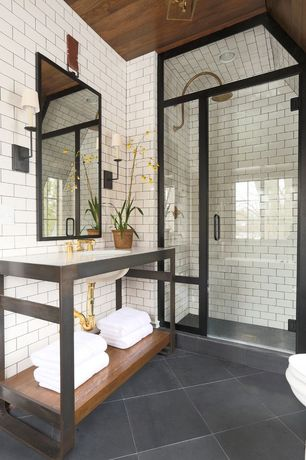 Contemporary 3/4 Bathroom with framed showerdoor, Rain shower, Corian counters, linen and towel storage cabinet, High ceiling
