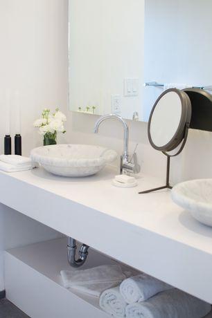 Contemporary Master Bathroom with Silestone white zeus extreme quartz countertop, Corian counters, Vessel sink, Double sink
