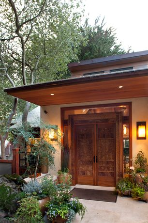 Asian Front Door with Fence, exterior tile floors, Gate