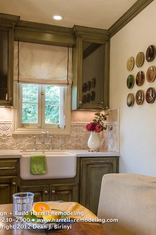 Country Kitchen with Farmhouse sink, Simple granite counters, Breakfast nook, Stone Tile, Glass panel, Raised panel, One-wall