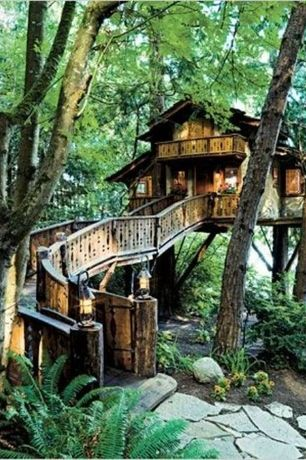 Eclectic Exterior of Home with Pathway, Fence, Tree house inspired home