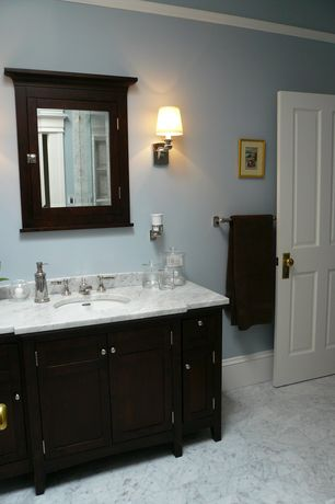 Traditional Full Bathroom with Tiffany 48 in. vanity in espresso with marble vanity top in italian carrara white and mirror