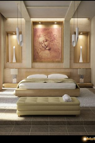 Contemporary Master Bedroom with Standard height, Pendant light, can lights, simple granite tile floors, Box ceiling