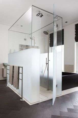 Modern Master Bathroom with Signature Hardware OUTLINE LITE FREESTANDING TOWEL RAIL - POLISHED STAINLESS STEEL, flush light