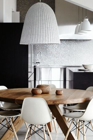 Contemporary Dining Room with Currey & Company Basket Pendant, Concrete floors, Mosaic tile backsplash, Pendant light