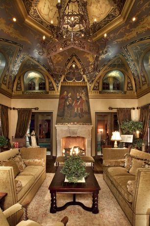Mediterranean Living Room with stone fireplace, High ceiling, French doors, Fireplace, can lights, Chandelier, Crown molding