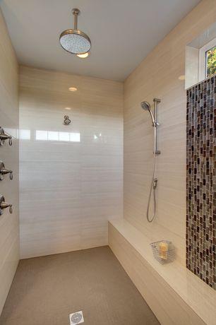 Contemporary Master Bathroom with frameless showerdoor, Ann sacks cirrus blanc porcelain tile, Daltile aura - autumn haze