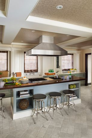 Traditional Kitchen with stone tile floors, limestone tile floors, electric cooktop, Farmhouse sink, Box ceiling, Casement