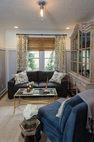 Cottage Living Room with Hardwood floors, flush light, Wainscotting