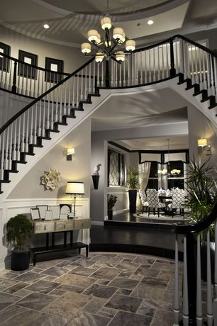 Contemporary Entryway with Balcony, Best Tile Ardesia Black Italian Porcelain Tile, Double staircase, slate tile floors