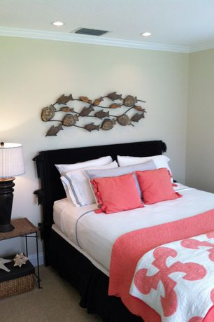Tropical Guest Bedroom with Paint, Carpet, Standard height, can lights, Crown molding