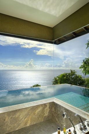Contemporary Master Bathroom with Somerset Deck Mount Roman Tub Filler with Handshower, Infinity pool