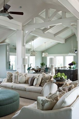 Eclectic Living Room with Ceiling fan, Olsen Drum Pendant, Rock River Set of 2 White Double Cross Back Dining Chairs, Columns