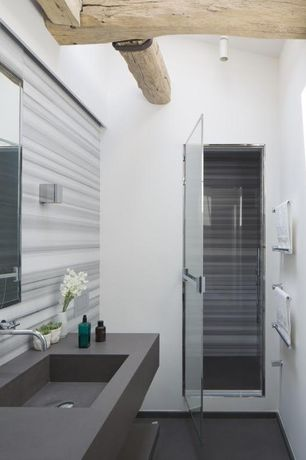 Modern Full Bathroom with Corian counters, Handheld showerhead, Choose Framed Shower Swing Doors Configuration, High ceiling