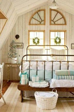 Cottage Master Bedroom with Half arch window, Pendant light, Striped area rug, Hardwood floors, Casement, Standard height