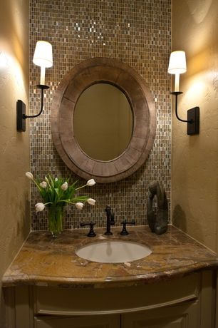 Traditional Powder Room with full backsplash, Restoration hardware- modern taper sconce with glass shade, Ceramic Tile, Paint