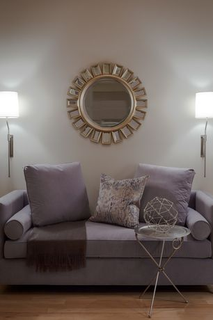 Contemporary Living Room with Wall sconce, Hardwood floors
