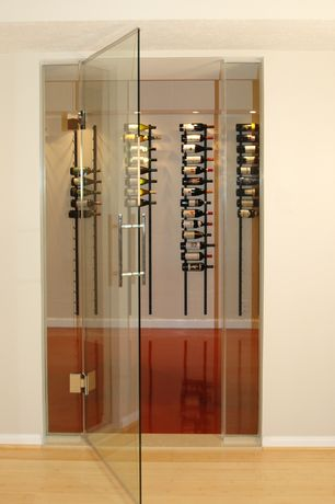 Contemporary Wine Cellar with Custom wine storage, Home Decorators Collection - Horizontal Toast Bamboo Flooring