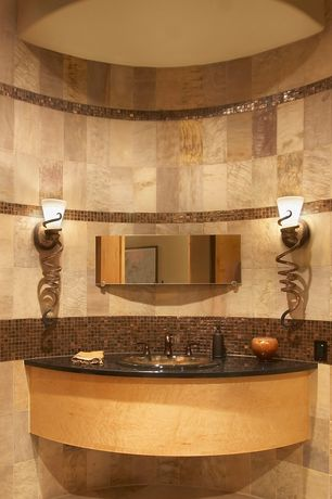 "Modern Powder Room with Cambria - Blackwood, MSI 24"" x 24"" Honed And Filled Travertine Tile in Tuscany Ivory, Wall sconce"