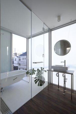 Modern Full Bathroom with Signature hardware wirtanen rectangular vessel sink, Modloft george mirror
