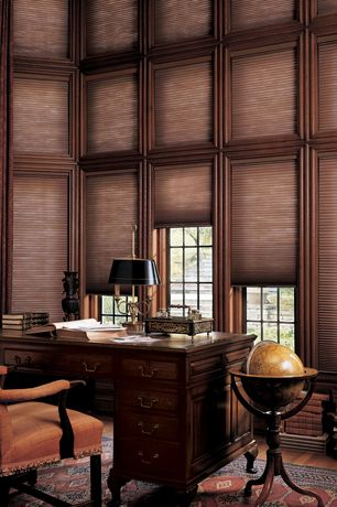 Traditional Home Office with Mahogany writing desk, High ceiling, Traditional upholstered arm chair, Cellular blind