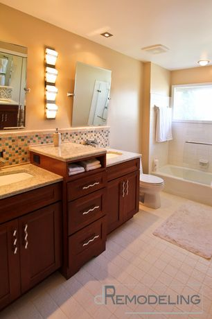 Modern Full Bathroom with Ceramic Tile, Full Bath, stone tile floors, flush light, Simple granite counters, Flush, can lights