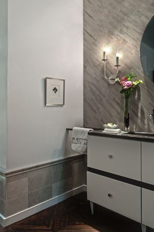 Modern Full Bathroom with Pental - Lagos Azul Polished Limestone Tile, Undermount sink, Herringbone Tile, Powder room, Flush