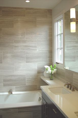 Contemporary Master Bathroom with Flush, Corian counters, George Kovacs Saber 2 Light Wall Sconce, Master bathroom
