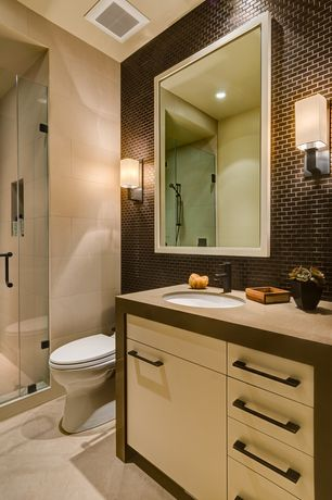 Contemporary 3/4 Bathroom with Flush, Subway Tile, stone tile floors, Wall Tiles, can lights, full backsplash, Wall sconce