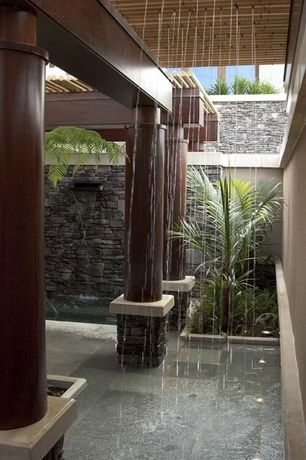 Tropical Porch with Cabot Stone Mosaic - Stone Series Basalt Blue 3D Interlocking, Janeiro slate tile montauk blue