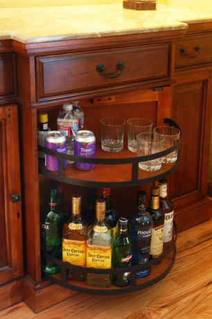 Craftsman Bar with Built-in bookshelf, Oak - butterscotch, Hardwood floors