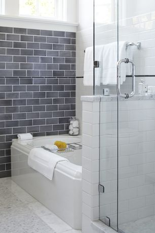 "Contemporary Full Bathroom with Urban Hues 2"" x 4"" Charcoal Mosaic, Master bathroom, ceramic tile floors"