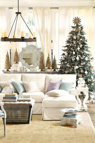Traditional Living Room with Ballard Designs Burlap Seat Storage Ottoman, Ballard Designs Arturo 6-Light Chandelier