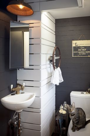 Rustic Powder Room with flush light, Wall mounted sink, American Standard Corner Minette Wall-Mount Sink, Powder room