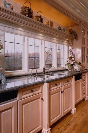 Country Kitchen with Simple granite counters, High ceiling, Inset cabinets, One-wall, Raised panel