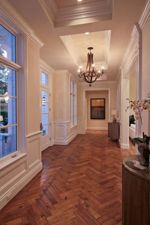 "Traditional Hallway with Transom window, Restoration Hardware Wine Barrel Chandelier, 43"", Wainscotting, French doors"