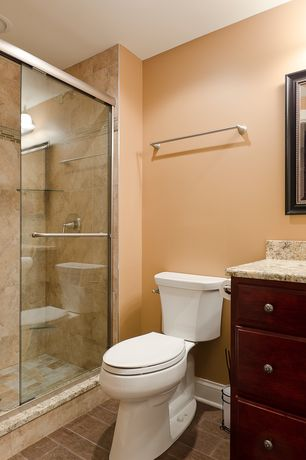 Traditional 3/4 Bathroom with flush light, Glass shower door, Simple Granite, Raised panel, Simple granite counters