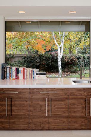Contemporary Kitchen with European Cabinets, Corian counters, Dekton-UltraCompact Surface Countertop Sample in Zenith, Flush
