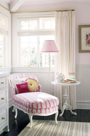 Cottage Kids Bedroom with Custom paint and upholstered antique louis xv sylve chaise lounge, Hardwood floors, Wainscotting