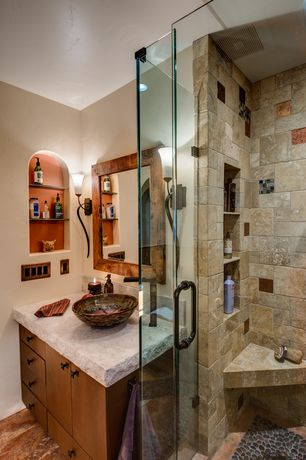 Rustic Master Bathroom with Yosemite Home Decor Karisma Hand Carved Round Vessel Bathroom Sink