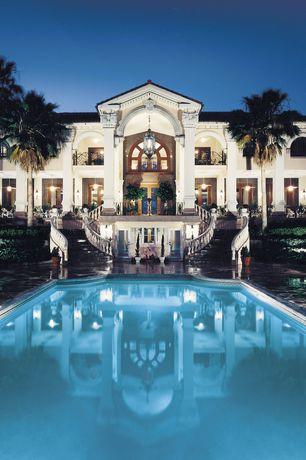 Traditional Swimming Pool with French doors, Pathway, Raised beds, Arched window, Outdoor double staircase, Deck Railing