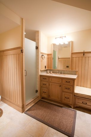 Country 3/4 Bathroom with Standard height, Daltile rockpoint sand 12x12 floor tile, Rejuvenation arched mission drawer pull