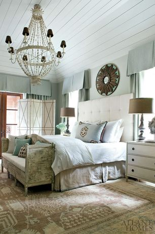 Traditional Master Bedroom with Skyline Furniture Button Tufted Headboard King Premier White, Raised ceiling, Carpet