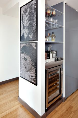 Contemporary Bar with can lights, Hardwood floors, Built-in bookshelf, Standard height