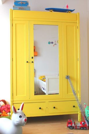 Contemporary Kids Bedroom with Yellow Wardrobe