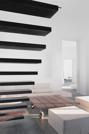 Modern Staircase with High ceiling, Pendant light, Floating staircase, Hardwood floors