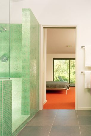 Contemporary Master Bathroom with Wall mounted sink, Master bathroom, Simple marble counters, Rain shower